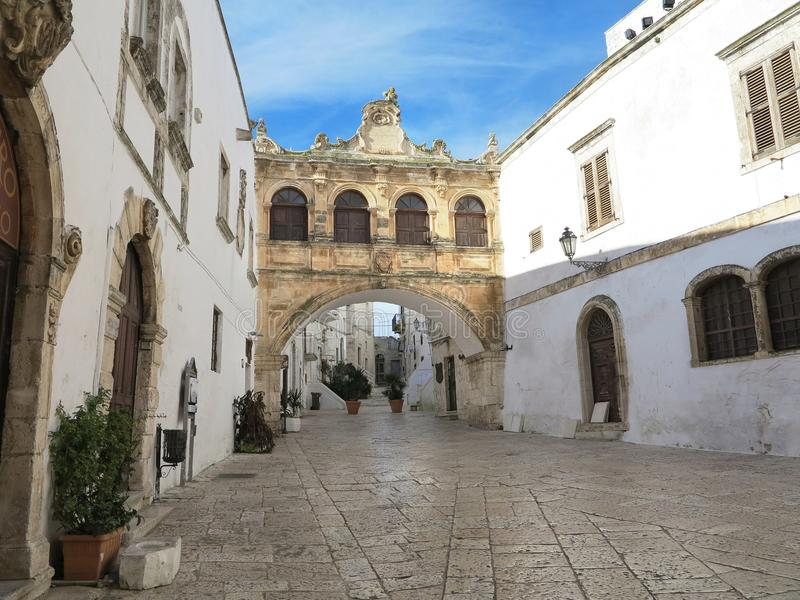 square in front of the cathedral of Ostuni, Puglia, Italy stock photography