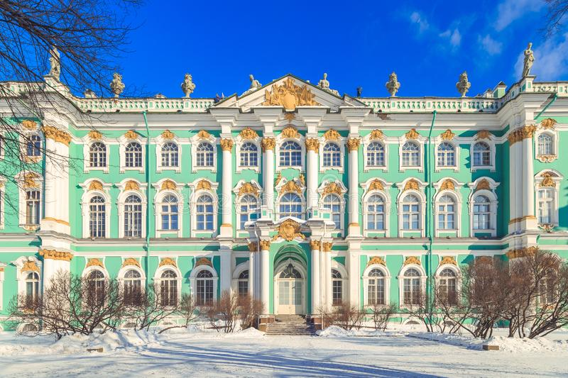 Square in front of the Hermitage in St. Petersburg. In winter stock photos