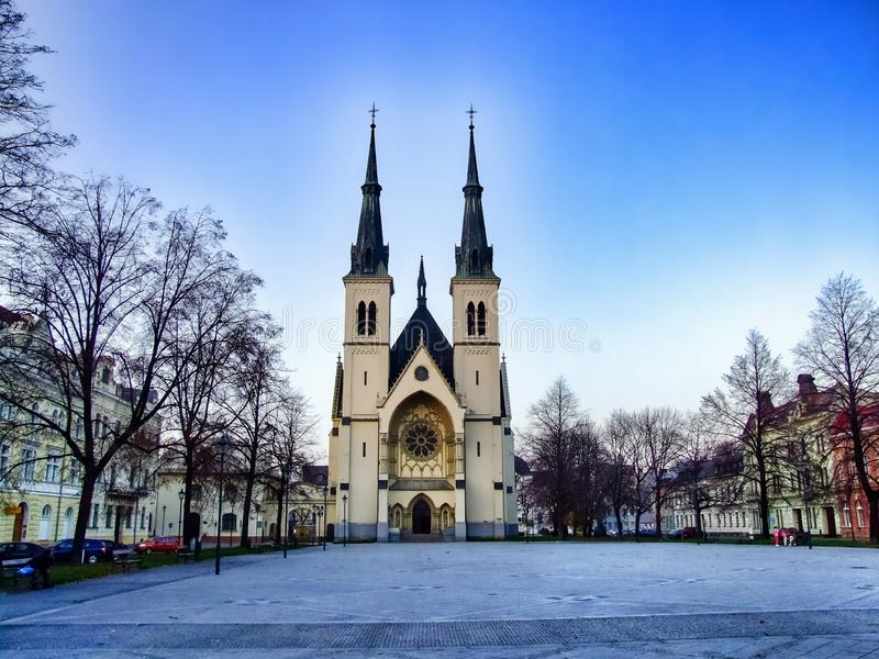 Square of Immaculate Conception of Virgin Mary Church in Ostrava in Czechia. Square in front of Immaculate Conception of Virgin Mary Church in Ostrava, Privoz in royalty free stock image
