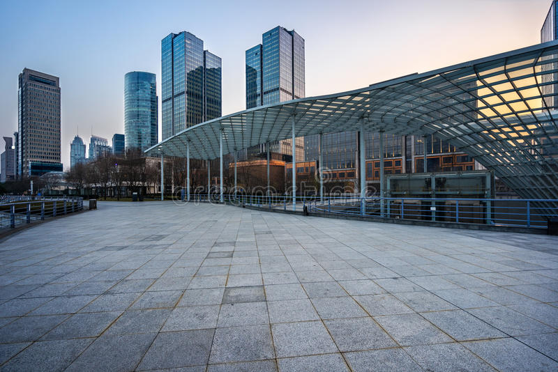 Square front of modern office buildings. In Shanghai financial district stock photo