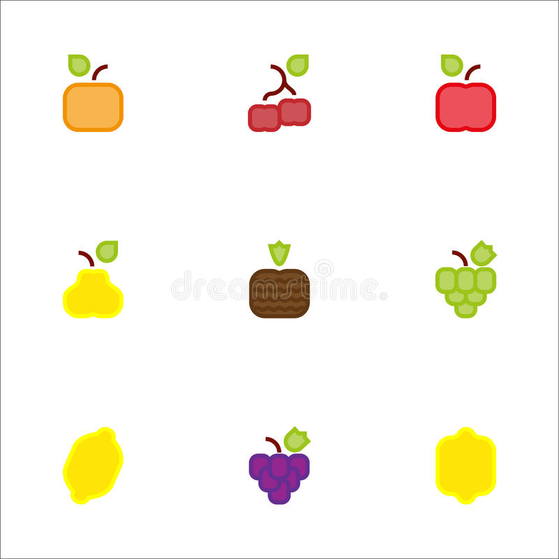 Square fruit icons color stock images