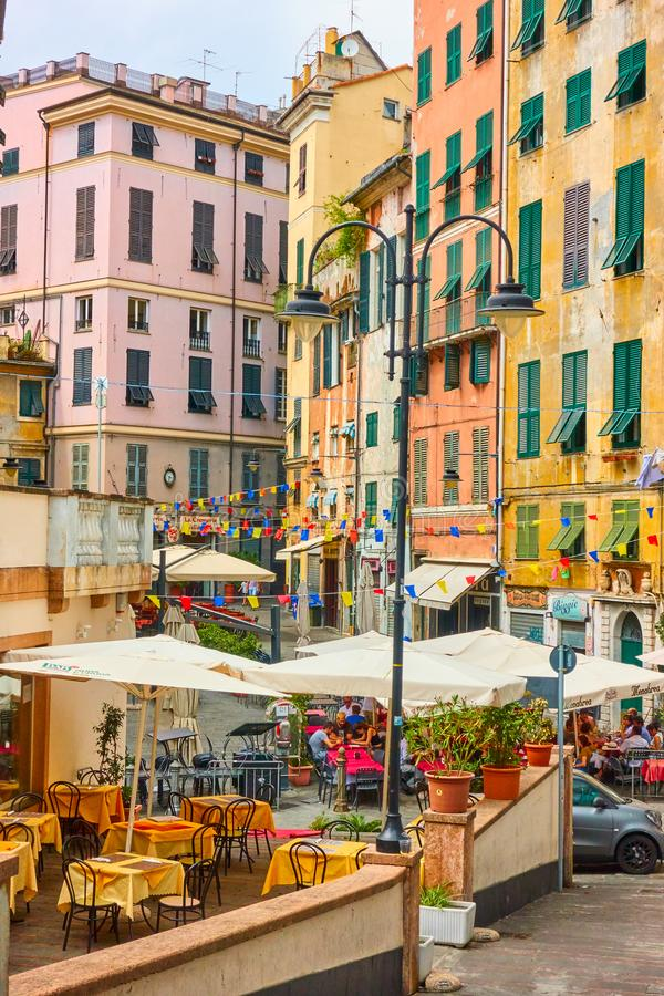 Square in Genoa. Genoa, Italy - July 07, 2019: Small square and old buildings in Genoa royalty free stock images