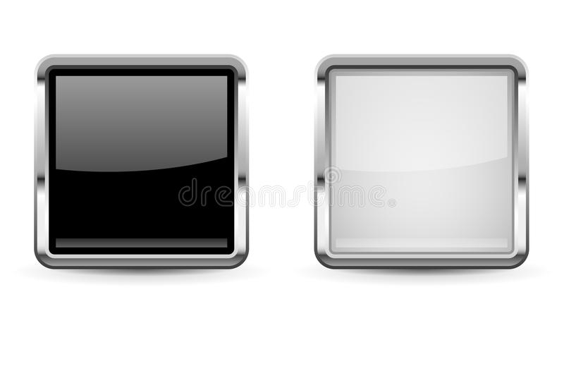 Square glass buttons. Set of black and white 3d icons with chrome frame. Vector illustration isolated on white background stock illustration