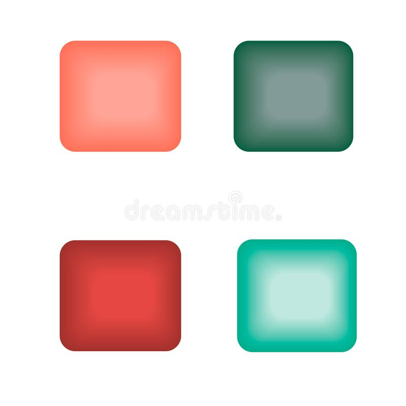 Square glowing buttons of different colors vector illustration