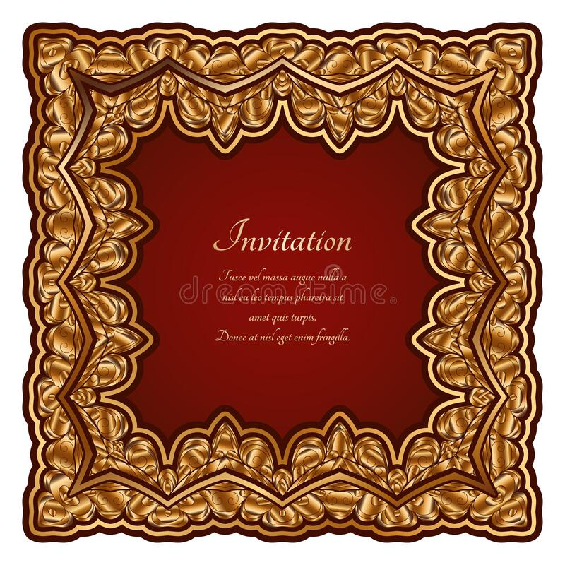 Square gold frame with ornate border ornament vector illustration