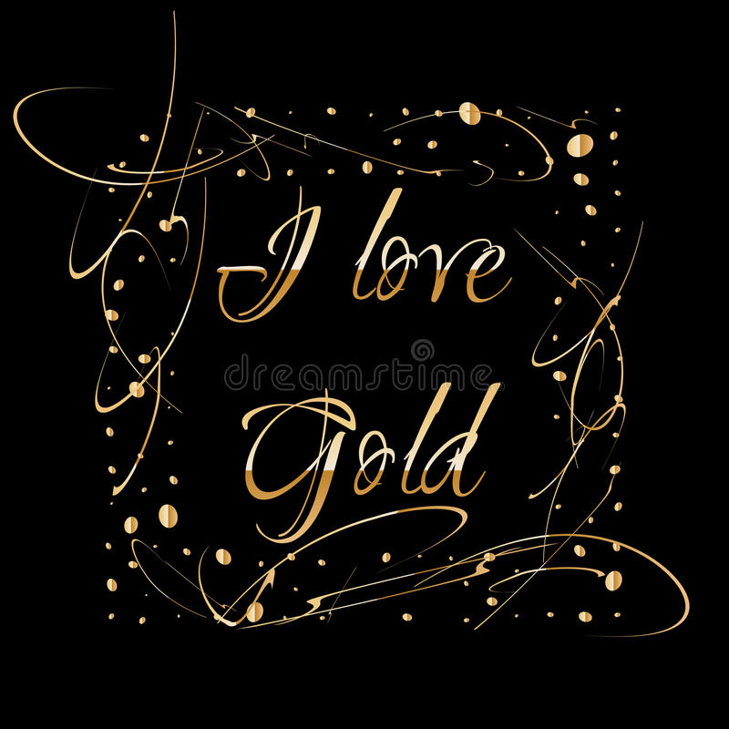 Square golden frame made of gold drops isolated on black background. Luxury vintage border, Label, logo design element royalty free illustration