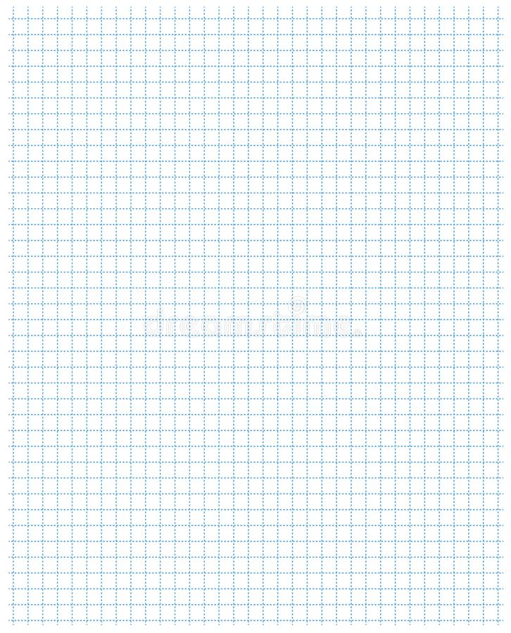 Square grid pattern standard blue school notebook sheet paper art blue color in dotted line. stock illustration