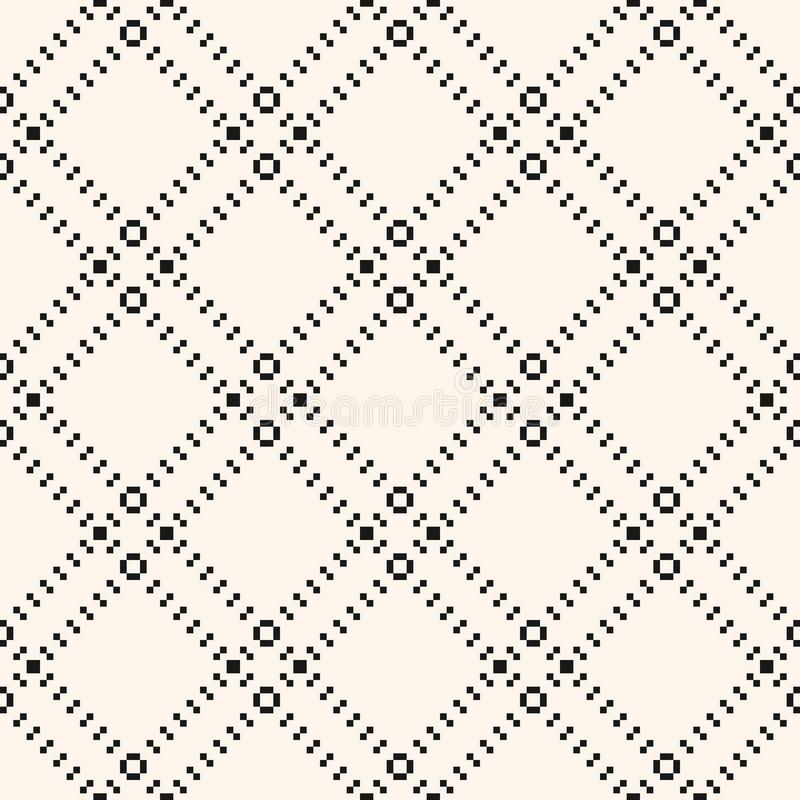 Square grid seamless pattern. Vector abstract black and white geometric texture stock illustration