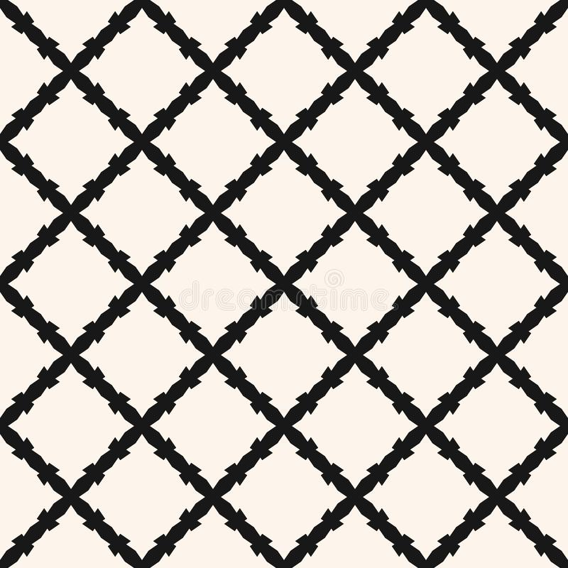 Abstract geometric monochrome texture with diagonal cross lines, rhombuses, mesh, lattice, grill, barbwire. Square grid vector seamless pattern. Abstract vector illustration