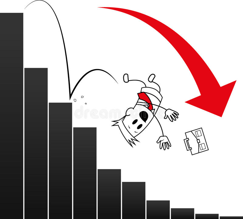 Square guy-Bankruptcy. Square guy is falling on the charts stock illustration