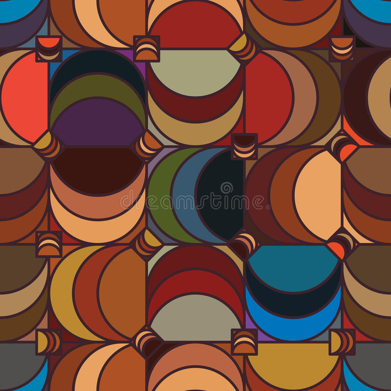 Square half moon vintage seamless pattern royalty free illustration
