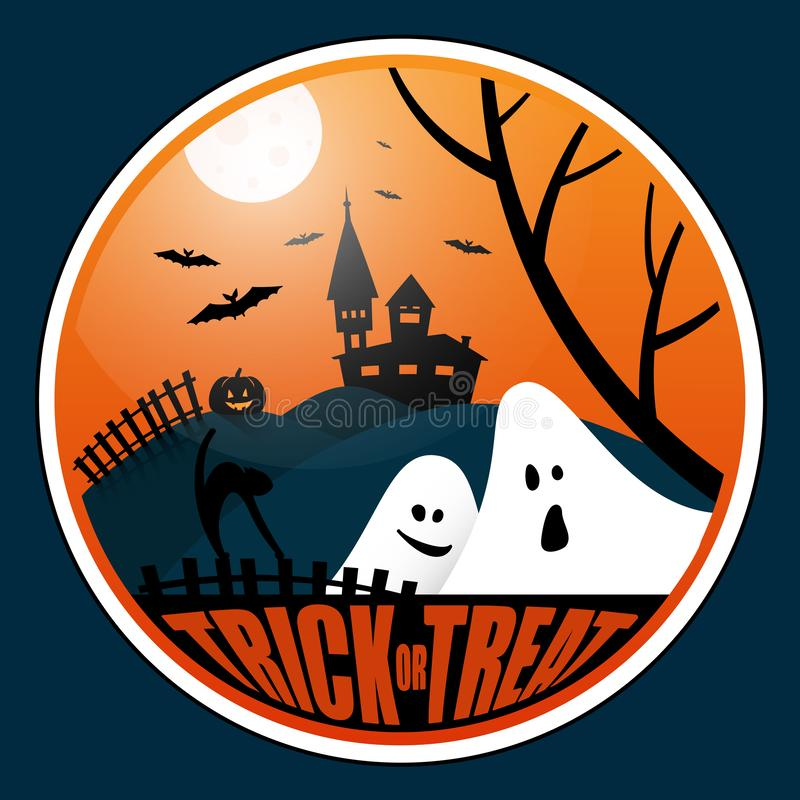Square halloween banner with lettering vector illustration