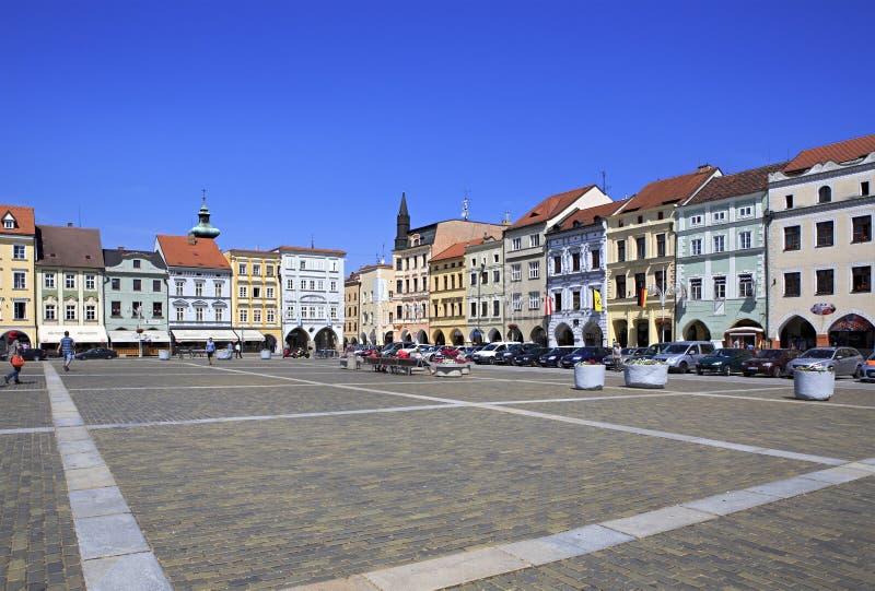 Square in the historic center of Ceske Budejovice stock photos