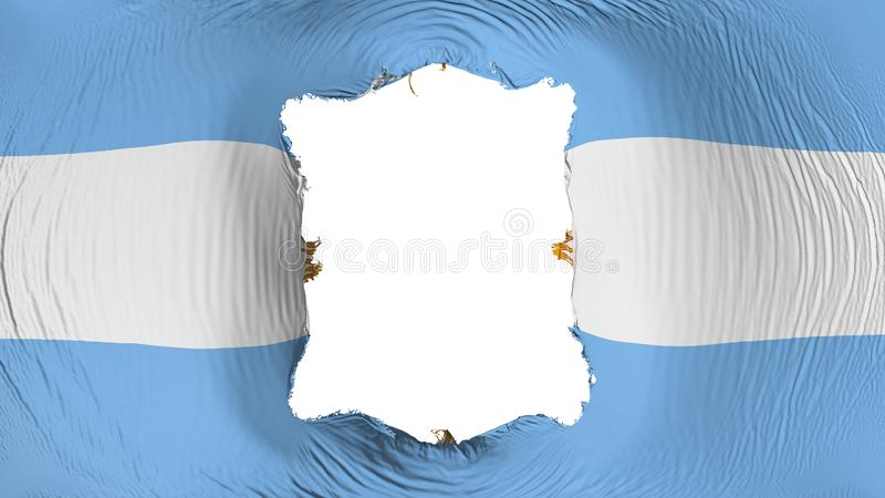 Square hole in the Argentina flag. White background, 3d rendering stock illustration