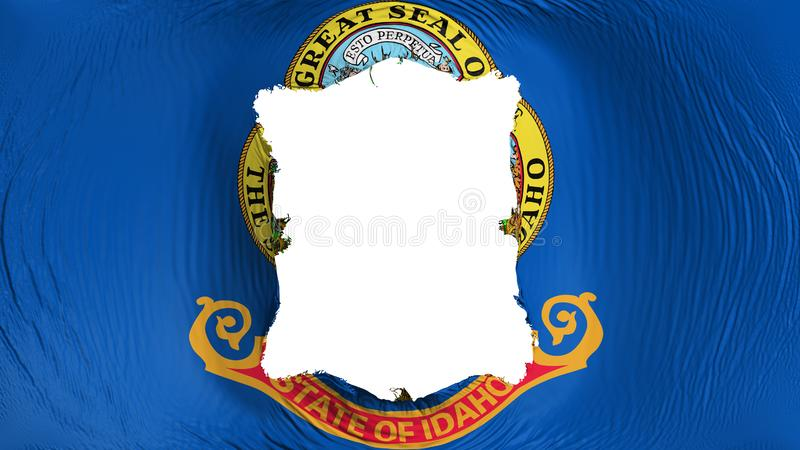Square hole in the Idaho state flag. White background, 3d rendering royalty free illustration