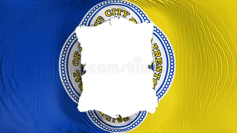 Square hole in the Trenton capital city flag. Square hole in the Trenton city, capital of New Jersey state flag, white background, 3d rendering royalty free illustration