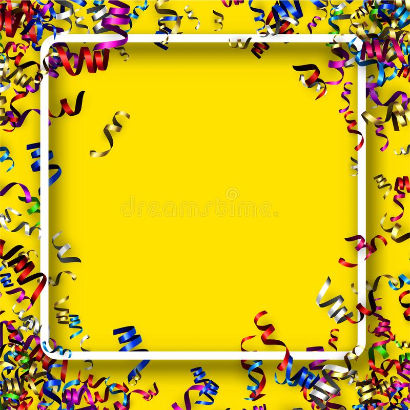 Square holiday background with colorful serpentine. stock illustration