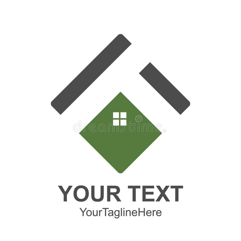Square House roof and home logo vector element colored green grey. Company logo design. stock photography