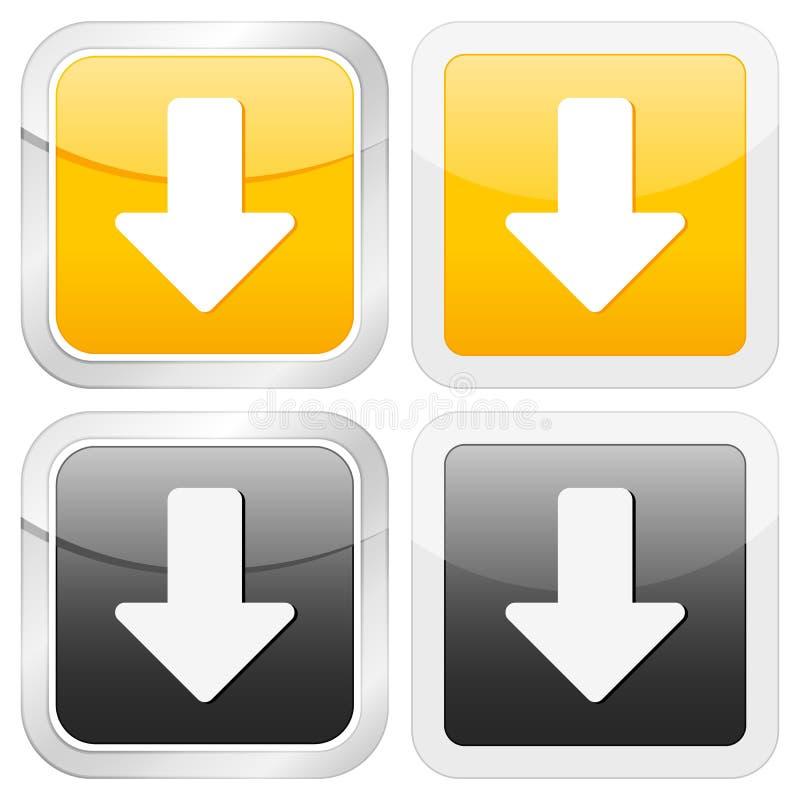 Square icon arrow down stock illustration