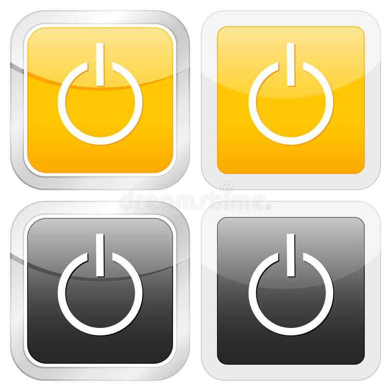 Square icon power stock illustration