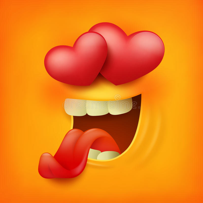 Square icon of yellow emoticon smiley face feeling love stock illustration