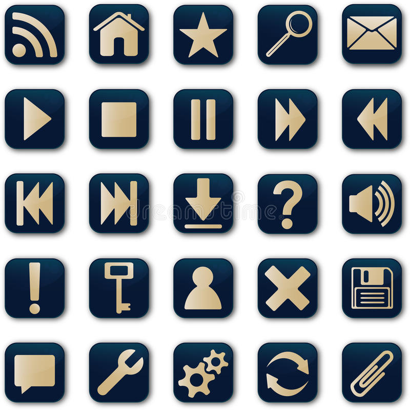 Download Square icons button set stock vector. Image of gold, mail - 16743662