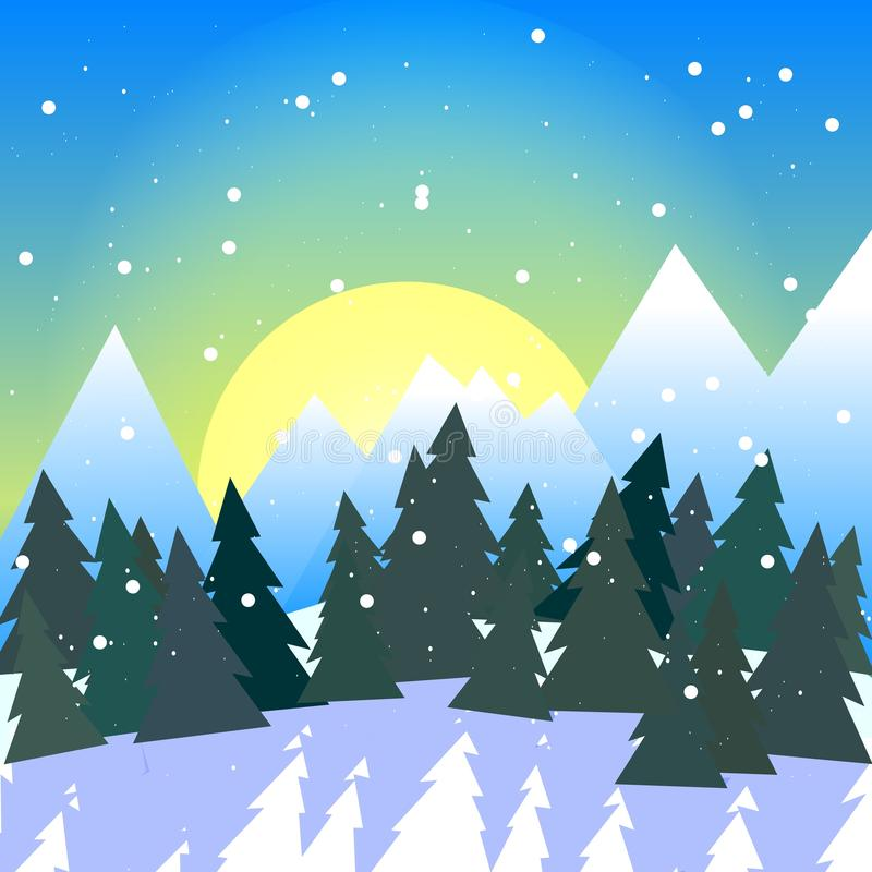 Square illustration of snowy forest valley with mountains royalty free illustration