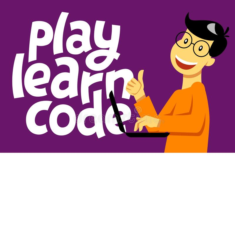 A square vector  image of the boy who studies coding. A image for a flyer or a poster for the chidren coding school. Play learn royalty free illustration