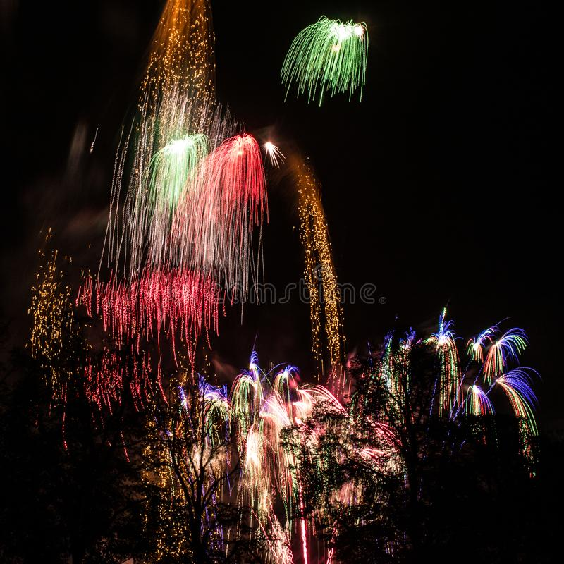 Square Image Of A Busy Sky During Firework Display royalty free stock image