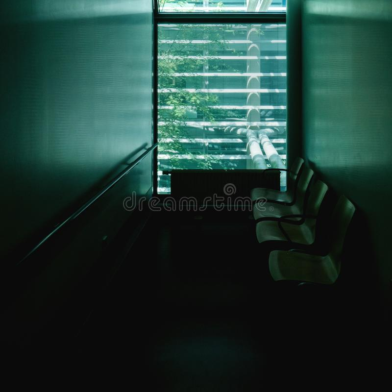 Square image of hospital doctor`s waiting room stock images