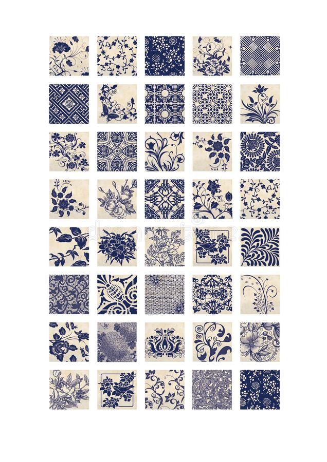 Square images 1 inch printable collage sheet blue beige floral elements patterned images printable. 2.5 cm swirly decorative leaves royalty free illustration
