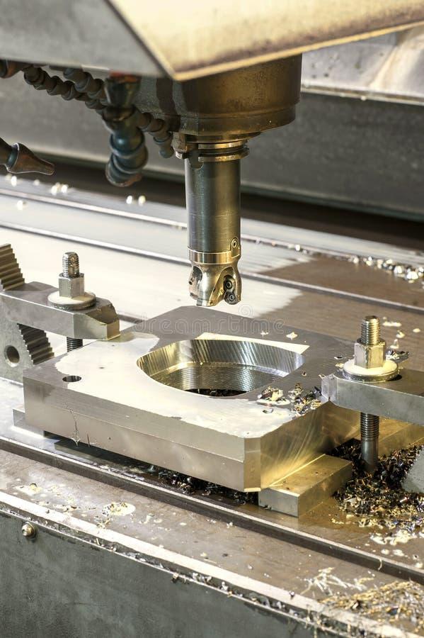 Square industrial metal mold/blank milling. Metal engineering, royalty free stock photos