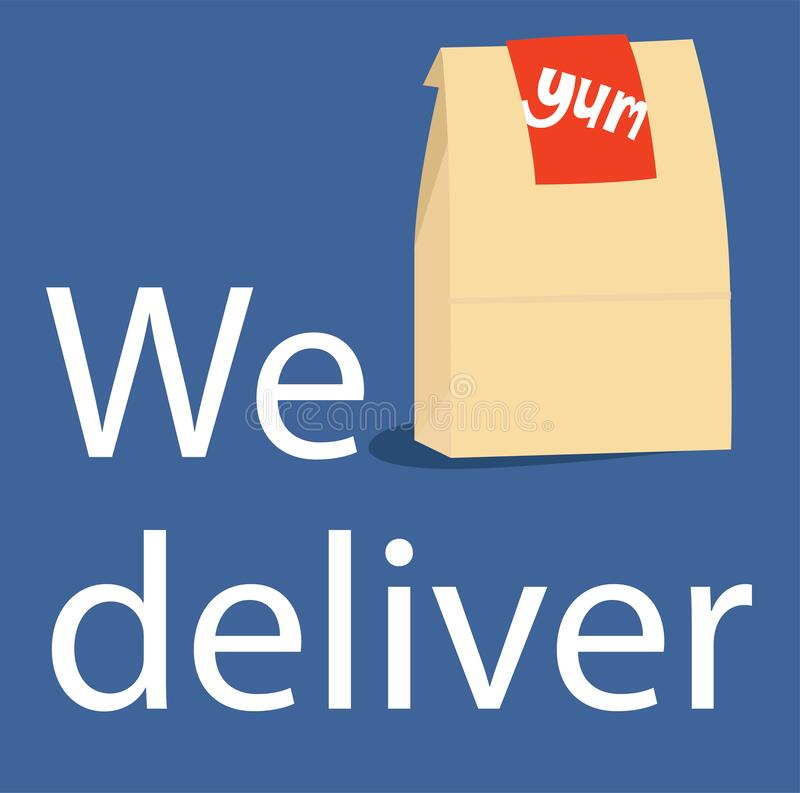 Free Square Infographic Showing A Take Out Delivery Bag And The Words Royalty Free Stock Image - 179806776