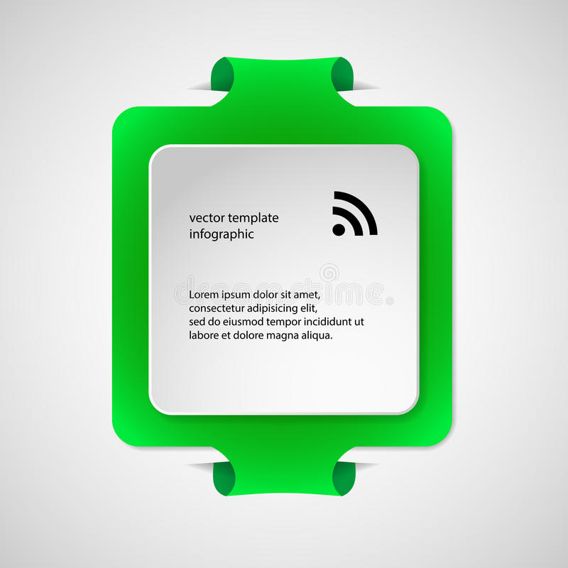 Square infographic template with green color stock illustration
