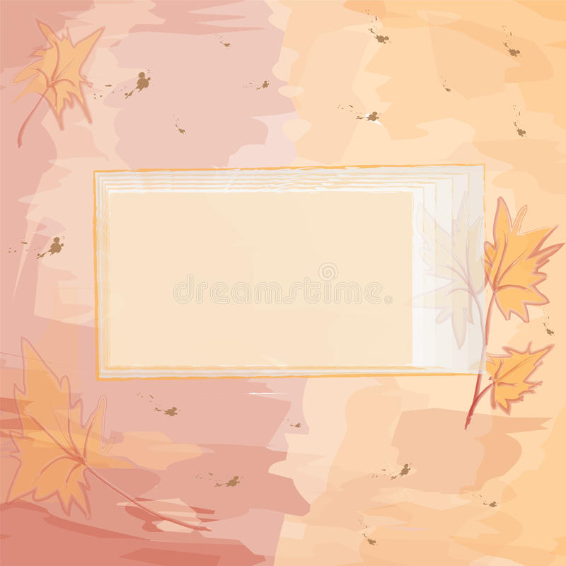 Square Invitational Card With Autumnal Design Stock Photography