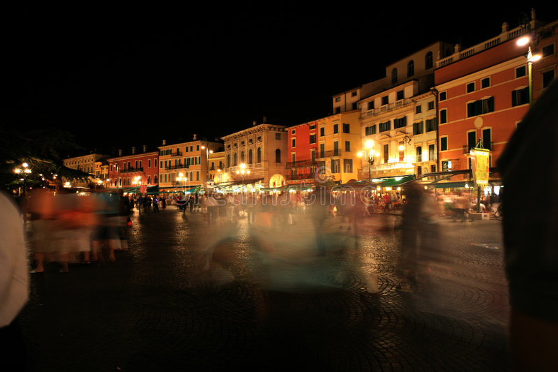 Square in Italy at night stock photography
