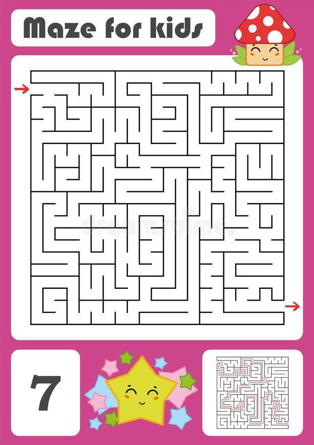 A square labyrinth. Developmental game for children. Vector illustration. Color design with cute cartoons. stock illustration