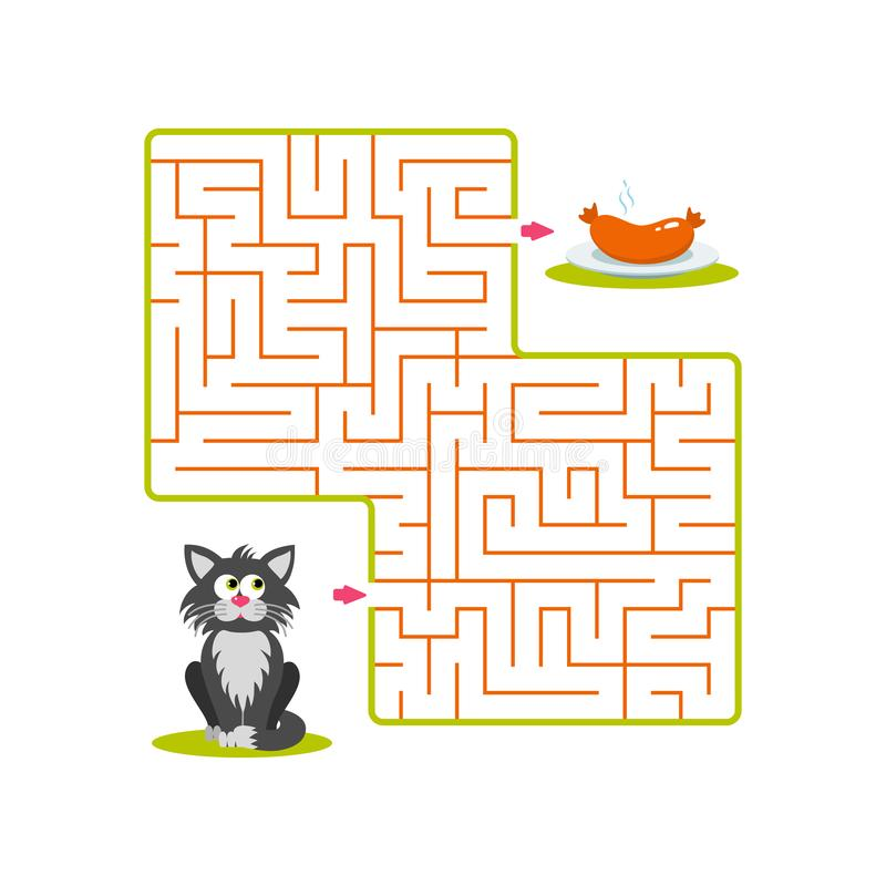 Square labyrinth with gray cartoon cat and plate with sausage on white background. Children maze. Game for kids. Children puzzle. Help the cat find the way to royalty free illustration