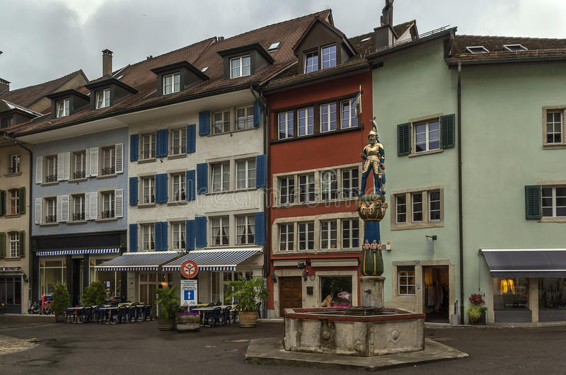 Square in Lenzburg, Switzerland. Square with fountain in the center of Lenzburg city, Switzerland stock photos