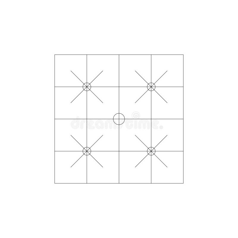 Square lines and crosses engineering drawing. Technological drawing made with lines and circles. Geometric design. Stock Vector vector illustration