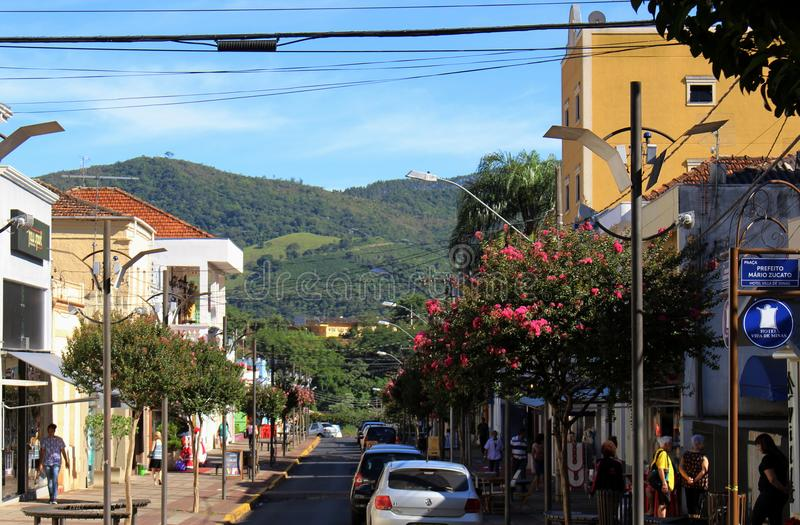 Square at little city in Brazil, Monte Siao-MG. Monte Siao/Minas Gerais/Brazil - 12-18-2016: Little city in Brazil, located in Minas Gerais State. Church was royalty free stock photo