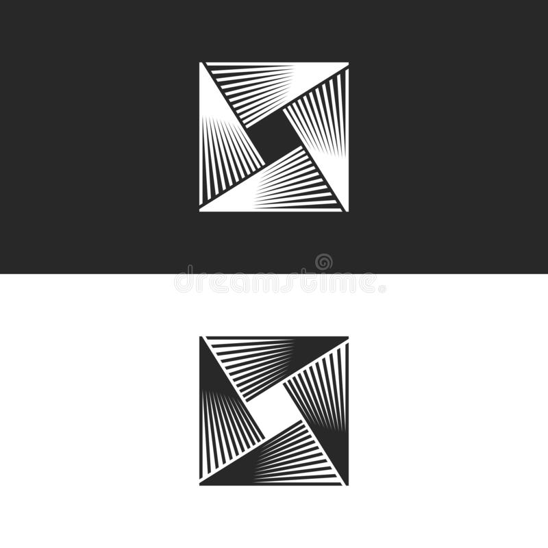 Square logo abstract geometric infinity shape, technology linear infinite illusion symbol, crosslights icon stock illustration