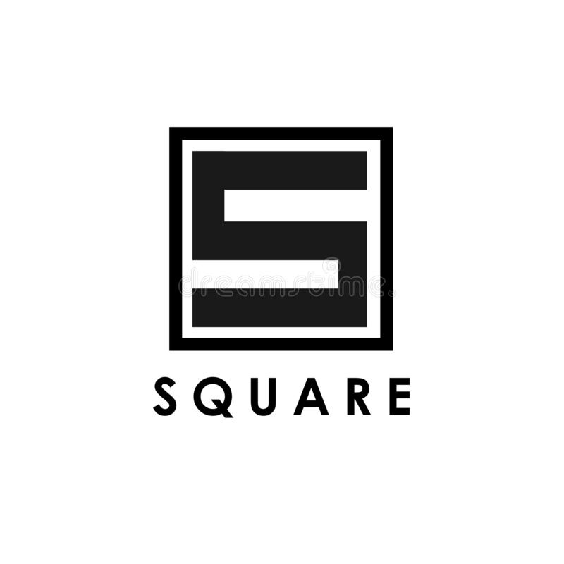 Square logo template, design vector icon illustration. Letter, symbol, geometric, shape, business, typography, emblem, branding, logotype, identity, abstract stock illustration