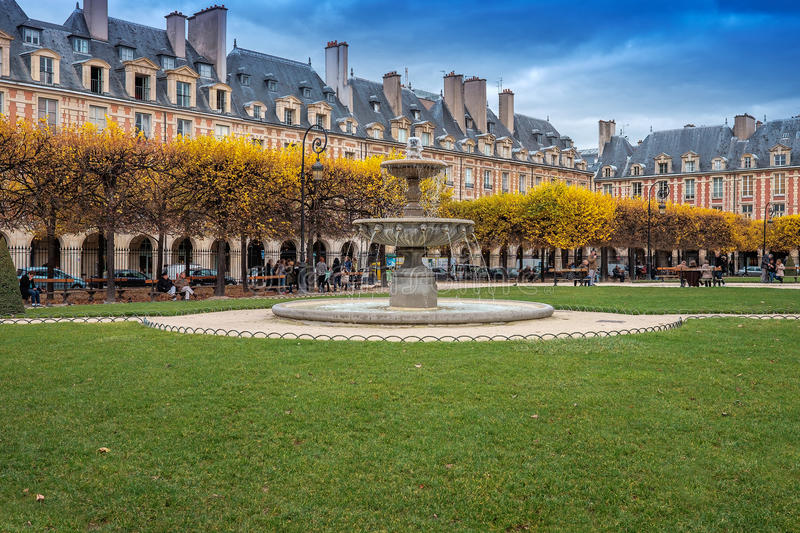 Square Louis XIII, Paris, France. This public garden is located in the centre of the Place des Vosges. It has more than a hundred linden and horse chestnut royalty free stock image