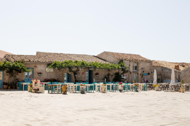 Square of marzamemi in sicily. stock photo