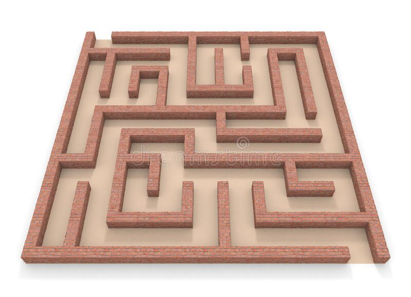Square maze. Brick wall. 3D rendering. stock illustration