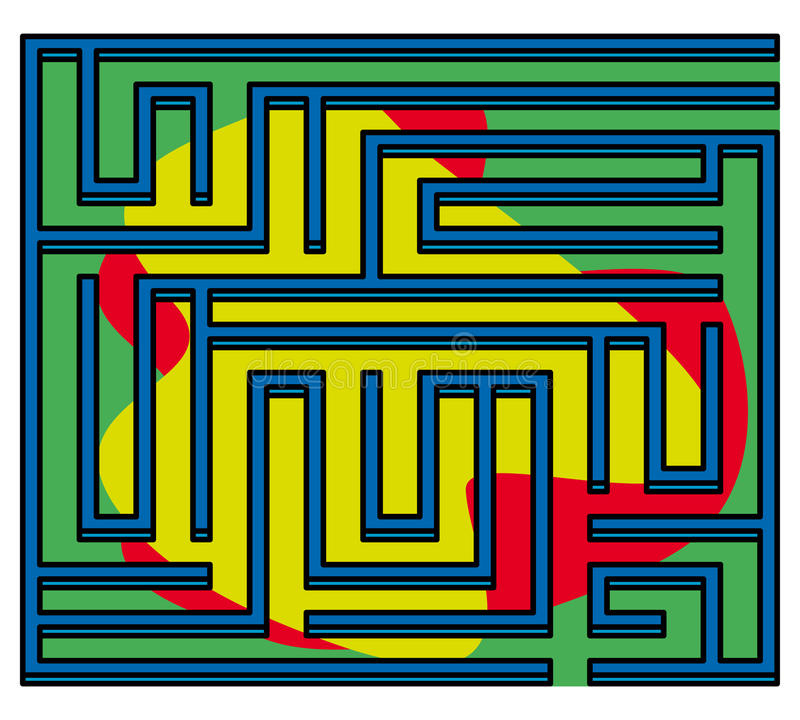 Square Maze 3d 13x13 (Many-colored) Royalty Free Stock Photo