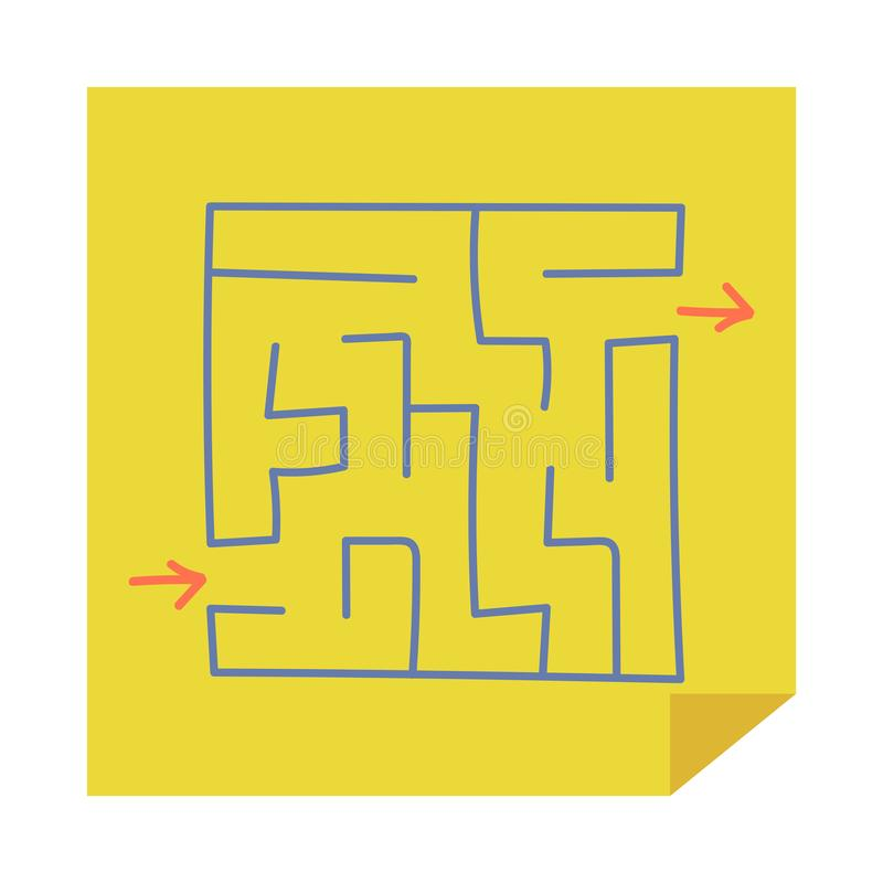 Square maze. Game for kids. Puzzle for children. Easy level of difficulty. Hand drawing. Labyrinth conundrum. Flat vector illustra. Tion isolated on sticker vector illustration