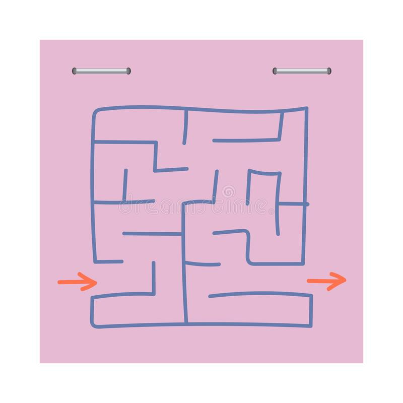 Square maze. Game for kids. Puzzle for children. Easy level of difficulty. Hand drawing. Labyrinth conundrum. Flat vector. Illustration isolated on sticker royalty free illustration