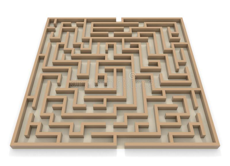 Square maze. Huge maze. 3D rendering. stock illustration